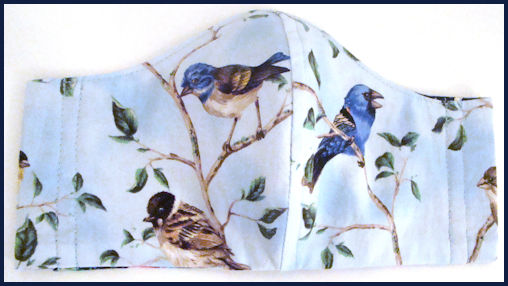 Face Mask in Birds On Branches Print