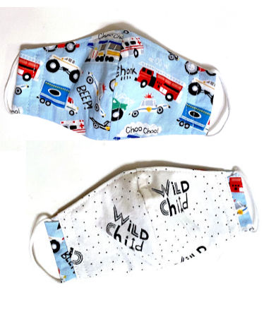 Children's Face Mask in Trucks and Wild Child Print